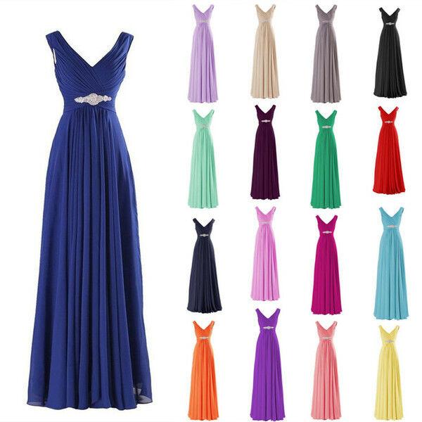 UK Womens Chiffon Maxi Formal Party Ballgown Cocktail Bridesmaid Long Dress UK