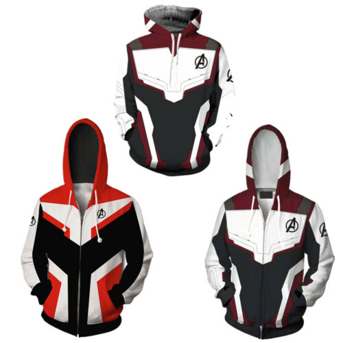 Avengers 4 Endgame Quantum Battle Suit Mens Adults Hoodie Sweatshirt Jacket Coat