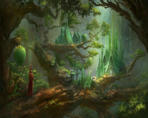 Fantasy Village In The Giant Woods Forest Painting Paint By Numbers Kit DIY