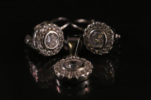 Beautiful Earrings with Pendant W//Zircon no chain 925 Sterling silver