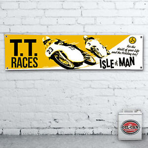 ISLE-OF-MAN-TT-RACES-Banner-heavy-duty-for-workshop-garage-1700-x-430mm