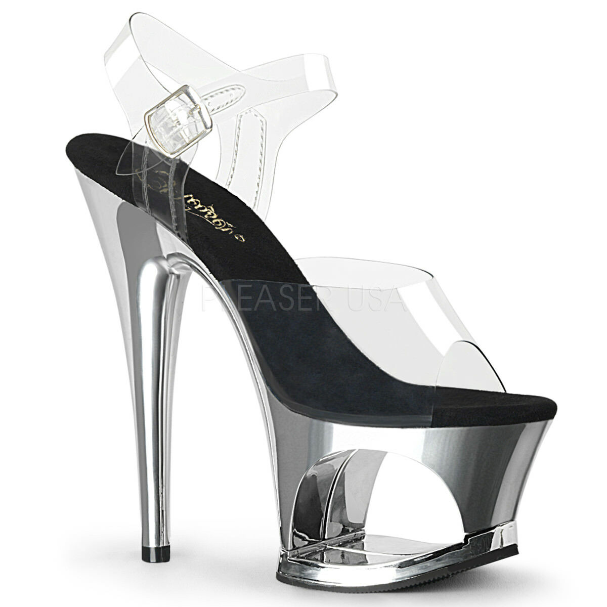 PLEASER MOON-708 CLEAR SILVER CHROME PLATFORM POLE DANCING SANDALS SANDALS SANDALS SHOES 7c00f1
