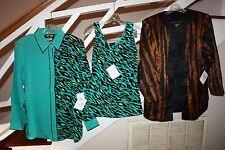 Lot of 3 New NWT Bob Mackie Print 100% Silk Button Up Medium Jacket Tank Cheetah