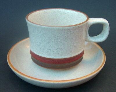 Denby Teacup and Saucer, Potters Wheel Pattern, 1970s Denby