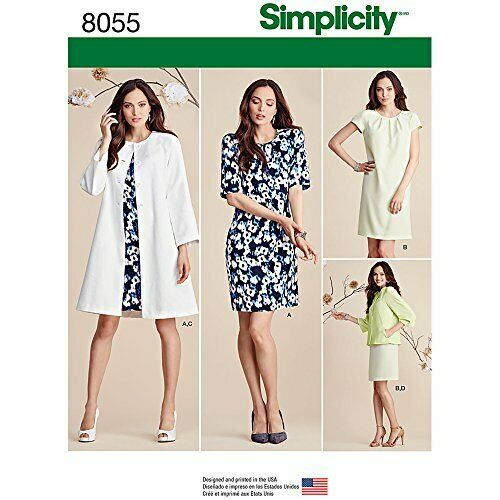 Simplicity 8055 Misses Dress and Coat or Jacket  Sizes 16-24 Uncut NEW