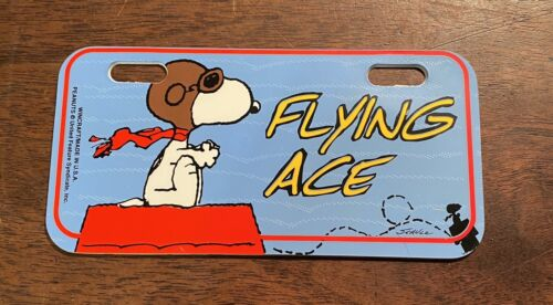 """Snoopy Peanuts /""""Flying Ace/""""  bicycle License Plate Sign Made in USA 5/"""" x 2.5/"""""""