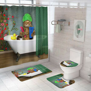 Bathing-Cat-Bathroom-Rug-Set-Shower-Curtain-Non-Slip-Toilet-Lid-Cover-Bath-Mat