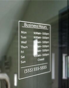 Custom Business Store Hours Sign Vinyl Decal Sticker X - Custom vinyl decal stickers for business