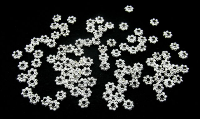 100 Flower Spacer Beads Silver Plated Snowflake Beads 4mm  **Small** J09688A