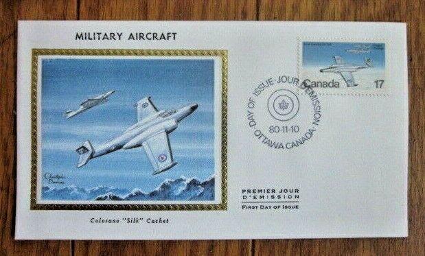 CANADA MILITARY AIRCRAFT 1980 COLORANO SILK CACHET FDC AVRO CANADA CF-100 UNADDR