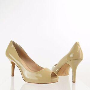 bc39f5099d Women's Vince Camuto Kiley Shoes Beige Leather Peep Toe Heels Size ...