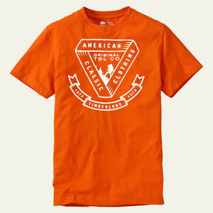Timberland men 39 s short sleeve american classic orange for All american classic shirt