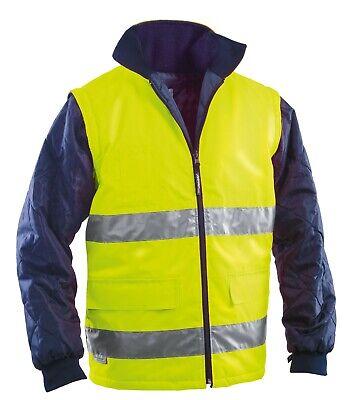 Gilet smanicato giubbotto uomo giacca da lavoro alta visibilità fluorescente