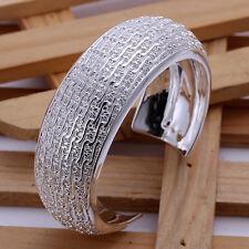 Unisex 925 Sterling Silver Cuff Bangle Bracelet L83
