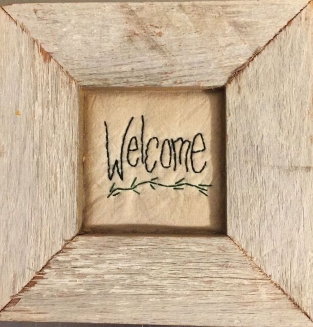 Primitive Wall Art Welcome Barn Wood White Washed Rustic