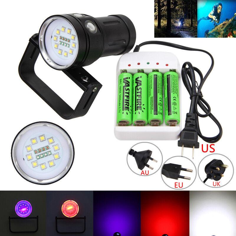 12000LM 10 White L2+4x Red+4x UV LED Scuba Dive Photography Flashlight 418650