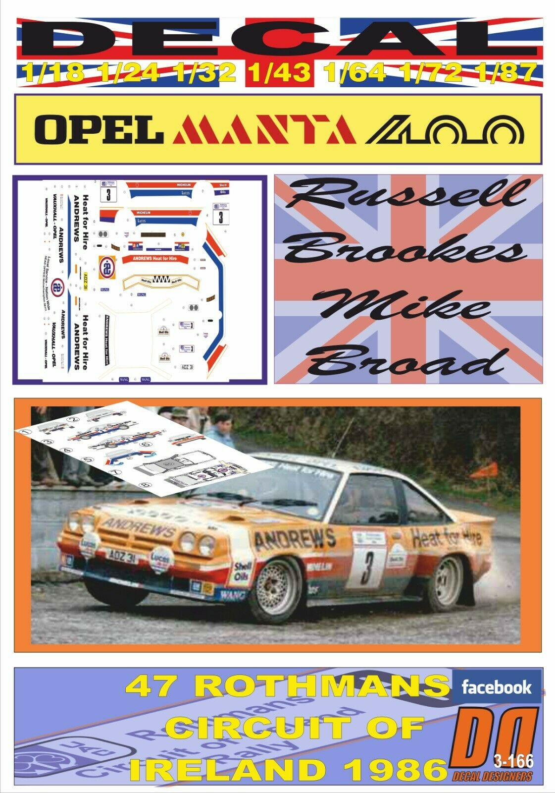 DECAL OPEL MANTA 400 ANDREWS R.BROOKES CIRCUIT OF IRELAND 1986 2nd (04)