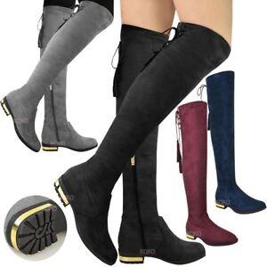 Señoras para mujer sobre la rodilla Taco Alto del muslo botas de oro de baja Borla Stretch Tamaño  </span>