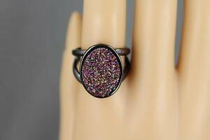 Black medallion ring cuff big chunky statement cocktail oval boho moroccan