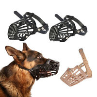 New Plastic Leather Basket Cage Adjustable Pet Dog Muzzle 7 Size Black Beige