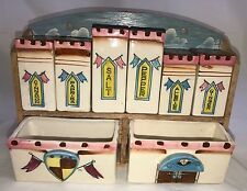 Vintage Japan Ceramic Castle Spice Shaker Set Rack