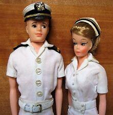 Vntg 1961 ANDY & WENDY HK Ken Barbie Clone Dolls in Navy Dress Whites+ ~NICE!