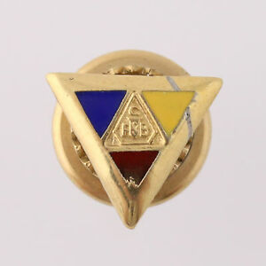 Knights-of-Pythias-Pin-Vintage-Fraternal-Member-Triangle-Crest-Enamel-Lapel