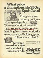 Jawa CZ 350cc Sport Twin Motorcycle 1976 Mag Advert #1839