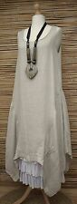 LAGENLOOK BEAUTIFUL QUIRKY LINEN A-LINE LONG DRESS**LIGHT BEIGE**BUST UP TO 44""