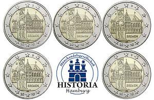 Deutschland-5-x-2-Euro-2010-Bremen-Roland-bankfrisch-Mzz-A-D-F-G-J-Komplettsatz