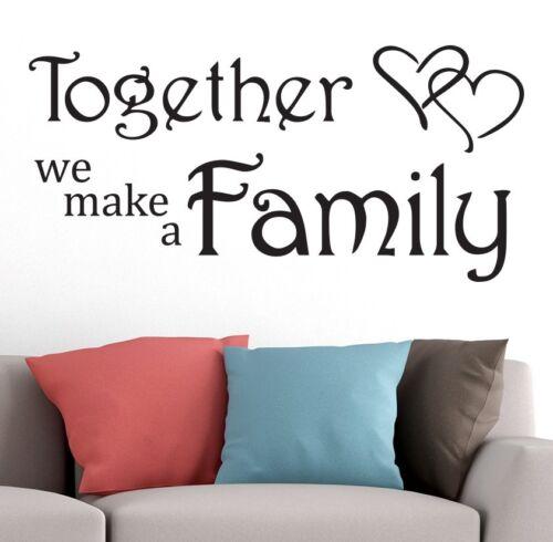 Ensemble nous faire une famille Art Love Coeur Chambre Vinyle Autocollant Mural Citation Noir À faire soi-même
