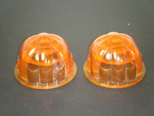 2 ORANGE AMBER GLASS MARKER MOTORCYCLE RAT ROD LIGHT LENSES Vintage PAIR