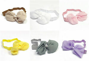 Bowknot-Headbands-Hairband-Chiffon-Elasticated-Hair-Bow-Band-Baby-Girls