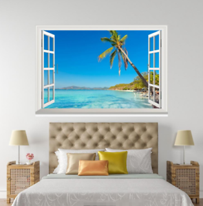 3D Summer Beach 19 Open Windows WallPaper Murals Wall Print Decal Deco AJ Summer