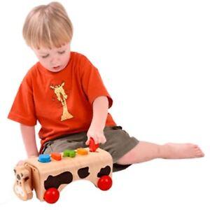Voila-Geo-Kuh-Spielzeug-Kinder-Spielen-Lernen-Ziehtier-mit-bunten-Formen-Holz
