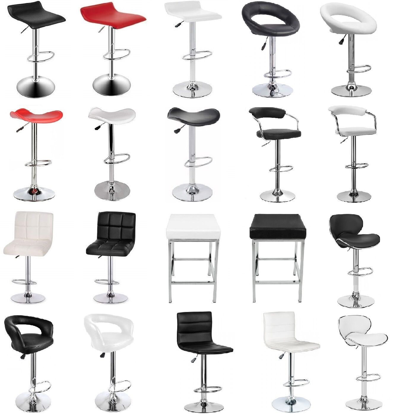 4x new pu pvc leather bar stool kitchen chair gas lift. Black Bedroom Furniture Sets. Home Design Ideas