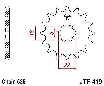 JT Front Drive 14t JTF419 Sprocket fits Suzuki GT250 K,L,M 73-75