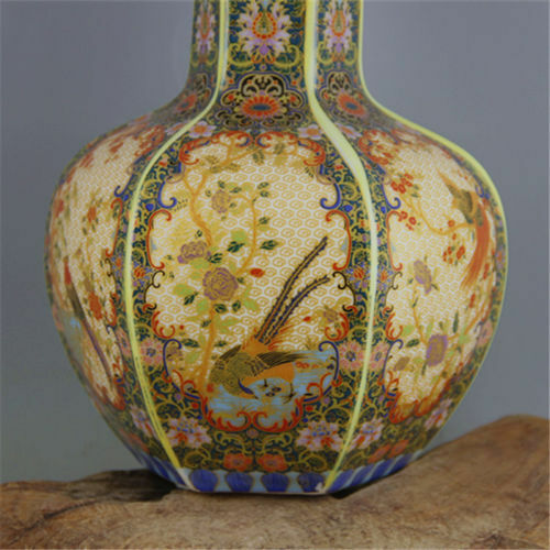 antique Porcelain colour enamels QING YONGZHENG Flowr bird Celestial bottle Vase
