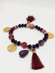 Bracelet-Bijoux-femme-Fantaisie-Violet-Pompon-Perle-Bois-Medaillon-NEUF-ref-7