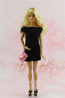 Vintage Little Black Dress/clothes/handmade Outfit For Barbie Doll Silkstone F1