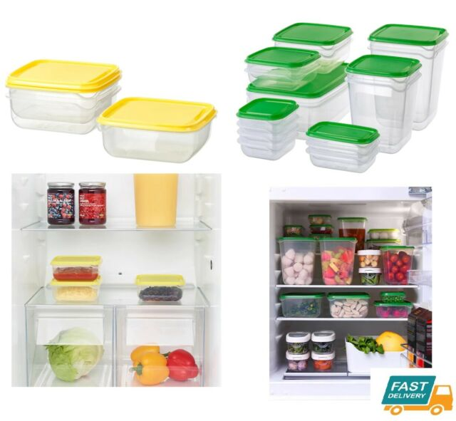 cbef86a1a6a7 IKEA Plastic Food Container Sets Fridge Freezer Storage Tubs & Lids Green  Yellow