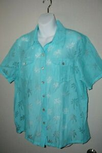 Alfred-Dunner-Woman-039-s-14-Short-Sleeve-Sheer-Teal-Blouse-Palm-Tree-Pattern-Light