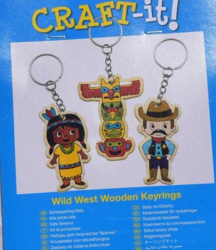 6 x  Schlüsselanhänger Indianer zum Bemalen  KINDERGEBURTSTAG wilder Westen