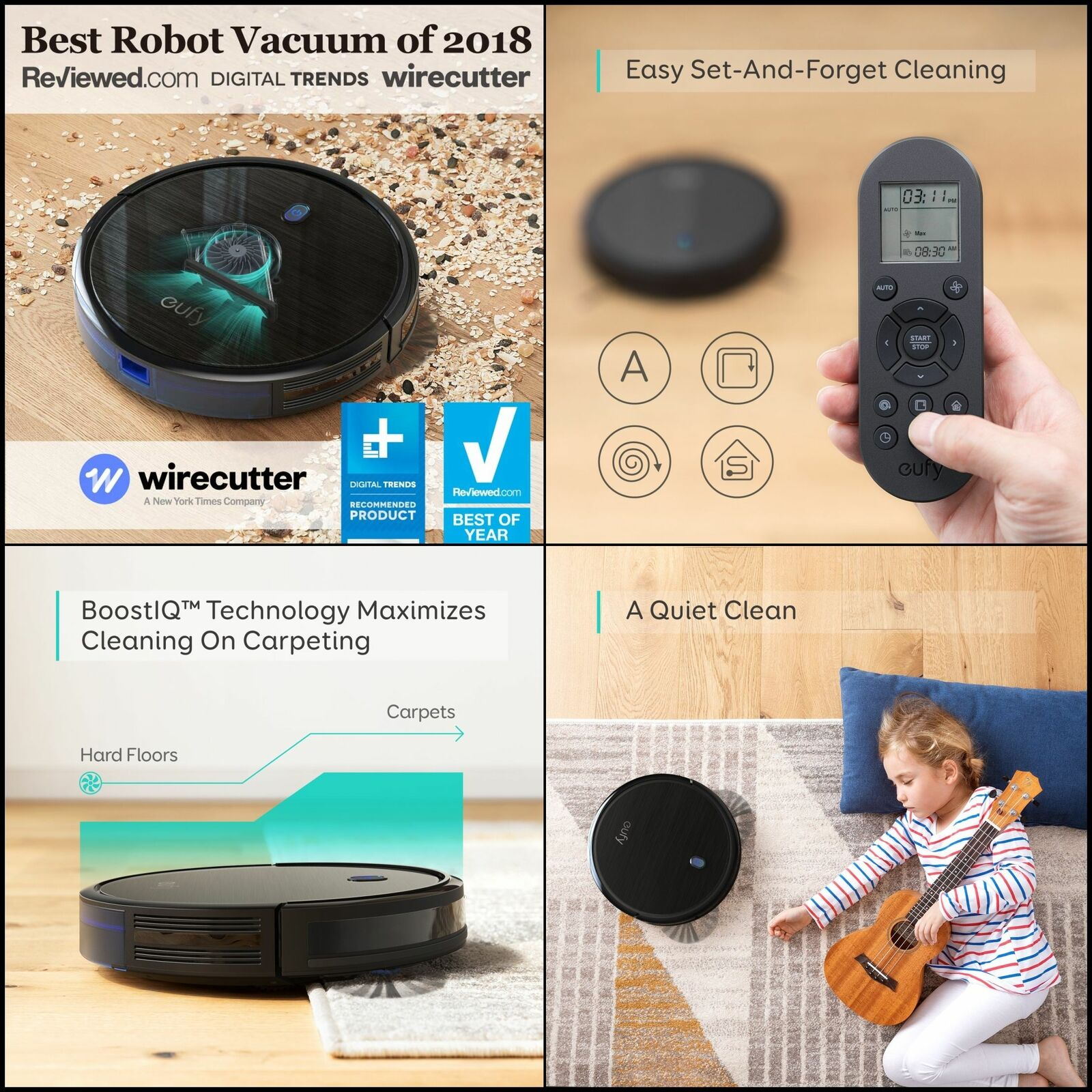 Robotic Vacuum Cleaner Strong Suction Quiet Self-Charging Hard Floors & Carpets