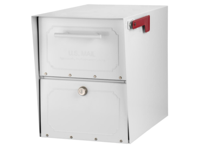 Architectural Mailboxes Oasis Classic Locking Post Mount Parcel Mailbox  White