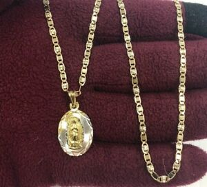 fba94e9accae Image is loading 18k-Gold-Plated-Virgen-de-Guadalupe-Medal-amp-