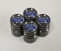Black Chrome Car Wheel Tyre Tire Air Valve Caps Stem Cover With Ford Emblem