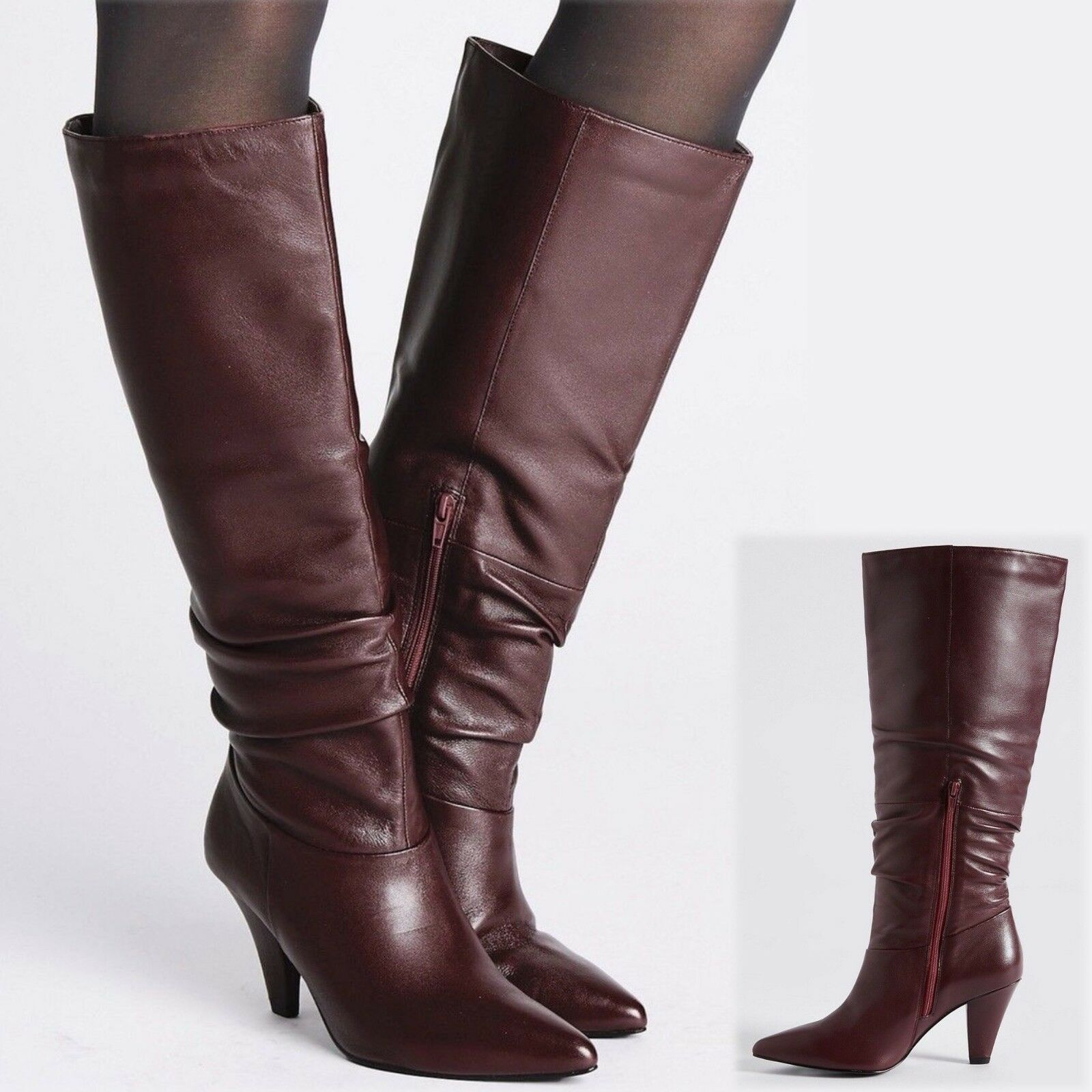 M&S Real LEATHER High Heel KNEE High BOOTS  Size 7  BERRY (rrp )