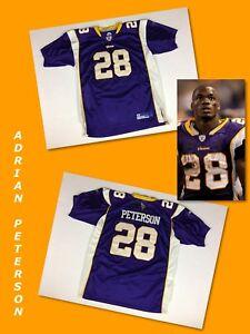 Details about Men's ADRIAN PETERSON Minnesota Vikings Purple STITCHED Reebok Jersey 50 Large
