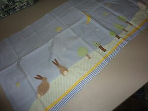 """POTTERY BARN KIDS TWINKLE TWINKLE BLUE RABBITS TREES (1) LINED VALANCE 18 X 24"""""""